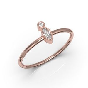 10K Minimalist Bezel Marquise Diamond CZ Ring